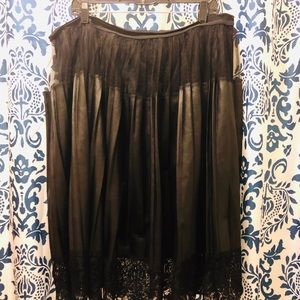 Black Faux Leather Skirt with Lace by Lane Bryant